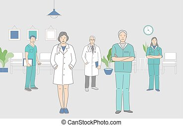Group of happy smiling medical workers standing together indoor vector cartoon outline illustration.