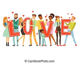 Group of happy smiling people holding the word Love cartoon colorful vector Illustration