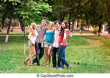 Group of happy smiling Teenage Students