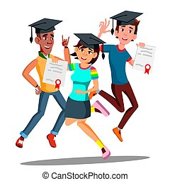 Group Of Happy Students In Graduation Caps Jumping Together Vector. Isolated Illustration