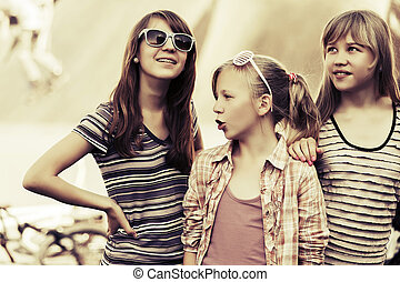 Group of happy teen girls outdoor