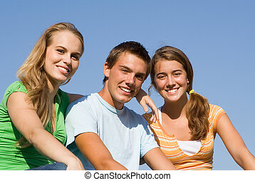 group of happy teens