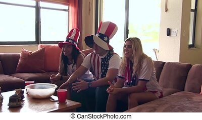 Group of happy USA soccer fans