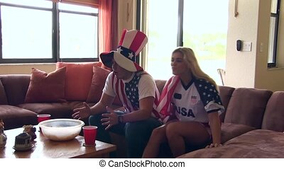 Group of happy USA soccer fans.