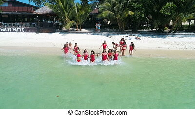 Group of happy women on the tropical vacation - Aerial drone...