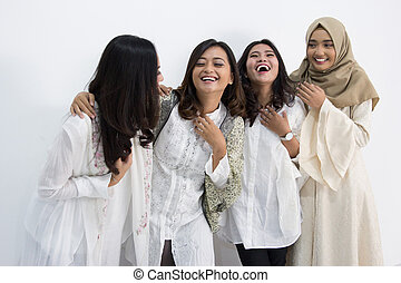 Group of happy women smiling