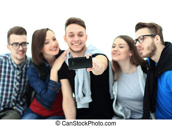 Group of happy young teenager students taking selfie photo...