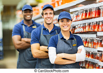 group of hardware store co-workers