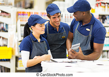 group of hardware store workers