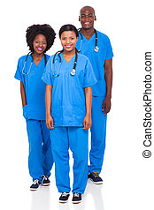 group of health workers isolated on white background