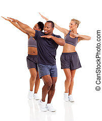group of healthy people working out