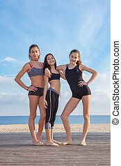 group of healthy teens girls