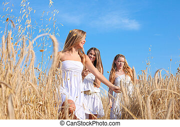 group of healthy young women