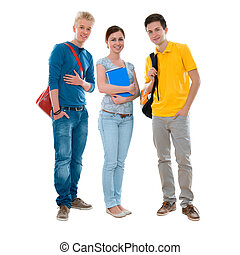 Group of high-school students standing together against white background