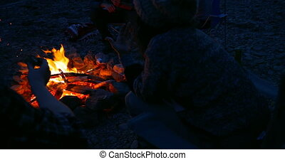 Group of hikers roasting marshmallows near campfire 4k - ...