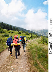 group of hikers with backpacks
