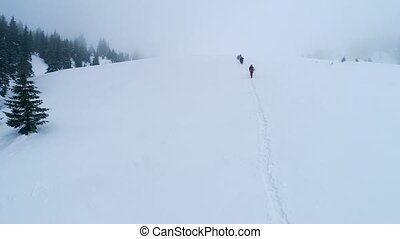 Group of hikers with dog on a mountain trail in winter