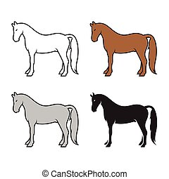 Group of horse on a white background. Wild Animals.