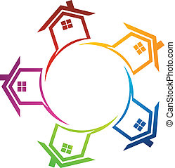 Group of houses - Team of houses in circle