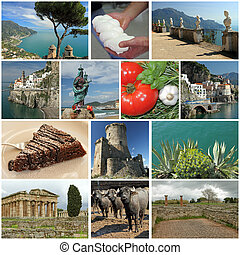 group of images from campania region, Italy