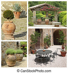group of images from tuscan backyard, Italy, Europe