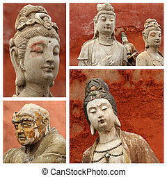 group of images with Buddhist gods, China