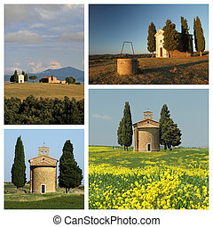 group of images with chapel of Madonna di Vitaleta in tuscan cou