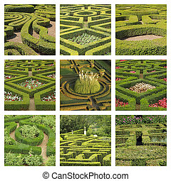 group of images with geometric gardens, Italy