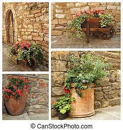 group of images with planters with flowers against old stonewall