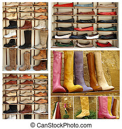 group of images with variety of leather shoes, Market San ...