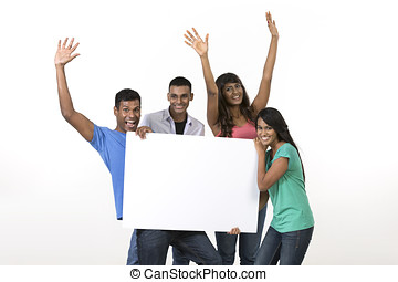 Group of Indian people with a banner ad.