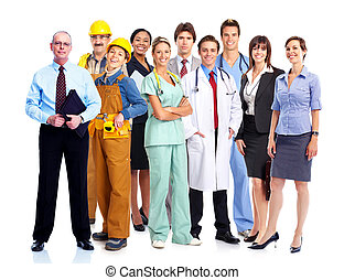 Group of industrial workers. Business team. Isolated over ...