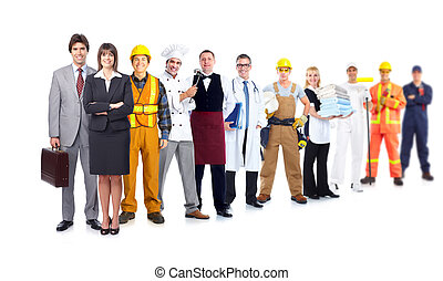 Group of industrial workers. Isolated on white background....