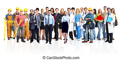 Group of industrial workers. Isolated on white background. ...