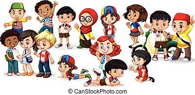 Group of international children illustration