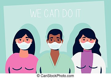 group of interracial people with we can do it message