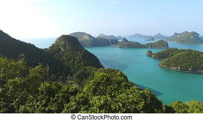 group of islands at ang thong national marine park