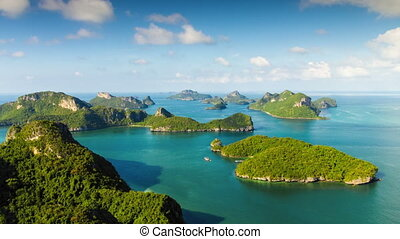 Group of islands view from mountain time lapse
