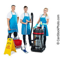 Group Of Janitors Standing On White Background