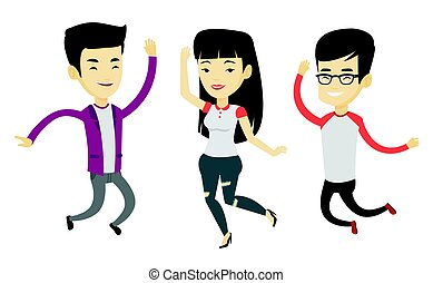 Happy group of young asian friends jumping. Group of cheerful friends having fun and jumping outdoors. Friendship and lifestyle concept. Vector flat design illustration isolated on white background.