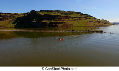 Group of Kayakers Enter Palouse River Rowing Outdoor...