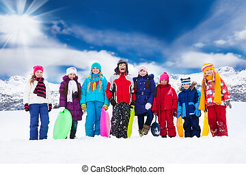 Group of kids and winter activities