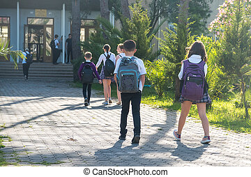 Group of kids going to school, education