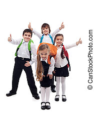 Group of kids happy going back to school