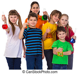 Group of Kids holding chemical flasks