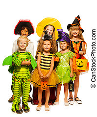 Group of kids in costumes isolated on white