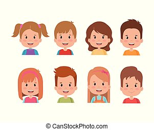 group of kids little characters