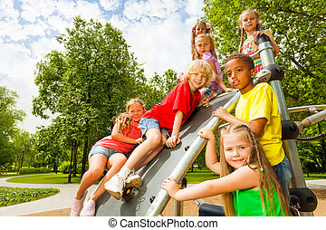 Group of kids on playground construction together