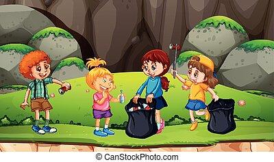 Group of kids picking up rubbish illustration