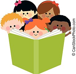 Group of kids reading a book. Vector illustration